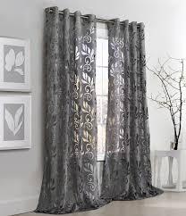 gray sheer grommet window curtains