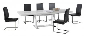 Large White High Gloss Extending Dining Table With  Black Chairs - Black dining table for 8