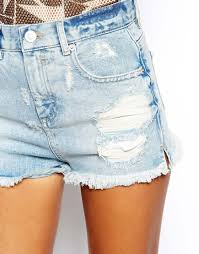 light wash denim shorts lyst asos high waist denim shorts with side and rips in