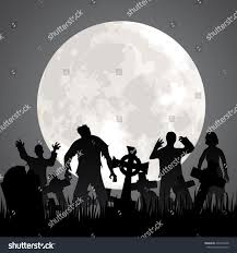 black and white halloween background silhouette halloween background zombies tombstones moon on stock vector