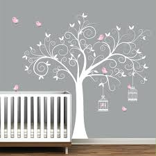 White Tree Wall Decal Nursery Baby Nursery Decor White Trees Removable Baby Wall Stickers For