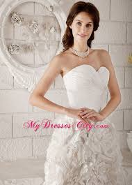 Knee Length Wedding Dresses Ruched Sweetheart Knee Length Wedding Dress With Rolling Flowers
