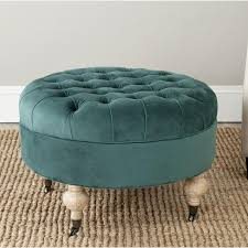 Safavieh Amelia Tufted Storage Ottoman Green Button Tufted Large Round Velvet Storage Ottoman