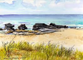 rocks at sandy beach east oahu hawaii watercolor on arches