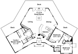 great room floor plans hexagonal house plan with vaulted great room 72494da
