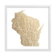 wisconsin map wisconsin map foil pressed wall by geekink design minted