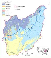 Ohio Rivers Map by Major Rivers And Geologic Deposits In The Ohio River Basin