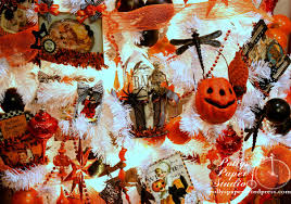 halloween tree with ornaments halloween basket with graphic 45 and art c groove tool polly u0027s