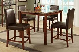 Amazoncom Poundex Marble Dining Table  Counter Height Chairs - Countertop dining room sets