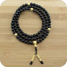 beads necklace images images Faceted black onyx buddhist prayer beads necklace meditative wisdom jpg
