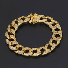 box link bracelet images Gold 3 row micro pave iced out cuban link bracelet with box clasp jpg