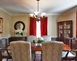 breathtaking image of dining room decoration using twin large drum beautiful image of dining room decoration using red dining room curtain including cream gray patterned dining