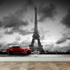 wall mural eiffel tower in paris and retro red car peel and stick wall mural eiffel tower in paris and retro red car peel and stick repositionable fabric wallpaper for interior home decor