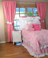 Ruffled Pink Curtains Bedroom White Ruffle Comforter For Charming Bedroom Decoration Ideas