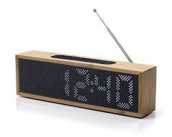 Coolest Clock by Lexon Titanium Clock Radio Bamboo Black House Of Fraser