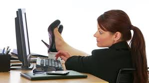 Feet On The Desk Tired And Depressed Businesswoman At Work Lying With His Head On