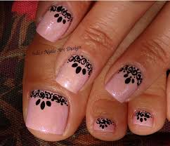 Nail Art Lace Design Toes Art Design Black Lace Effect Free Hand Painted Elegant And