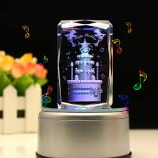 Engraved Music Box Engraved Music Box Crystal Birthday Cake Colorful 3d Rotating
