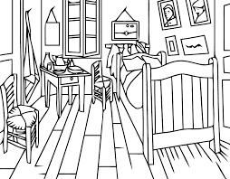 tableau de gogh la chambre tableau de peintre à colorier az coloriage