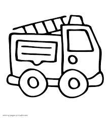 very easy coloring page of fire truck