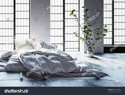 modern minimalist hipster bed on carpet stock illustration