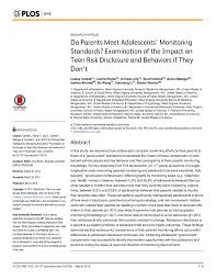 plos one cover letter do parents meet adolescents u0027 monitoring standards examination of