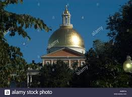 the golden dome of the massachusetts state house boston