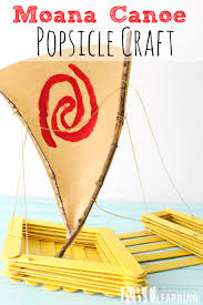 moana canoe popsicle craft moana canoeing disney s and animation