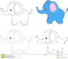 color by number educational game for kids cartoon elephant stock