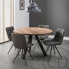 table de cuisine ronde industrielle pieds métal sur cdc design
