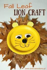 fall leaf lion from paper plate craft for kids pinned with