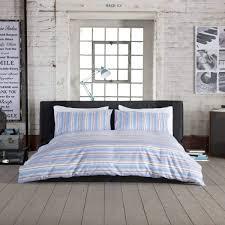 studio 1846 stripe cotton blue duvet cover set dove mill