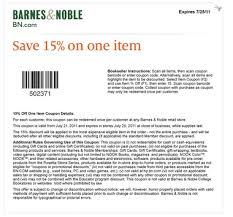 Barnes Noble Online Coupon Barnes U0026 Noble 15 Off One Item Printable Coupon Al Com