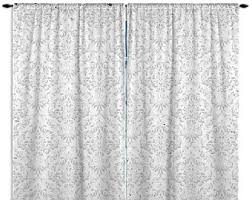 White And Black Damask Curtains Gray Curtains Etsy