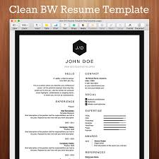 Resume Templates For Mac Clean Black And White Resume Template For Pages Mactemplates Com