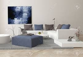 interior of modern living room with sofa ottoman and artwork