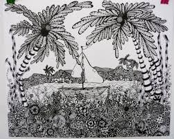 g a s art zentangle landscape with a twist a tropical zentangle