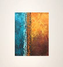 abstract original acrylic painting blue brown rust yellow modern