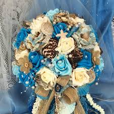 wedding bouquets with seashells rustic wedding cascade bridal flowers s bouquet blue