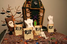 halloween fun in a spooky rice krispie treat graveyard