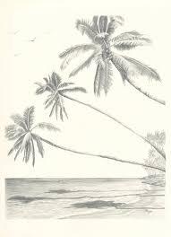 hawaii paradise three palm tree beach pencil drawing by rockplanet