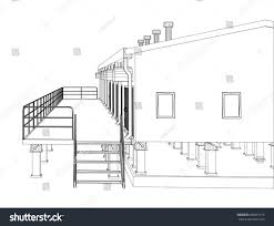 industrial building floor plan wireframe industrial building on white background stock vector