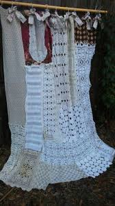 Shabby Chic Valance by Antique Tea Stained Crochet Window Valance Burlap Bows Shabby Chic