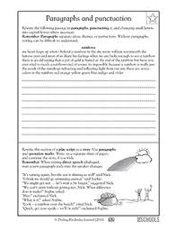 4th grade 5th grade writing worksheets punctuating a paragraph