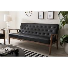Retro Modern Sofa Baxton Studio Sorrento Mid Century Retro Modern Black Faux Leather