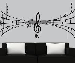 Music Note Decor Modern Vinyl Wall Decal 3d Music Notes Decal Black Silhouette
