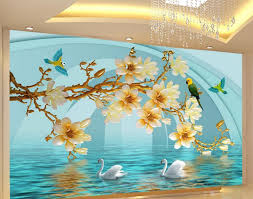3d wallpaper flower 3d stereoscopic magnolia backdrop 3d murals