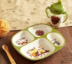 thanksgiving toddler divided plate sippy cup set pottery barn