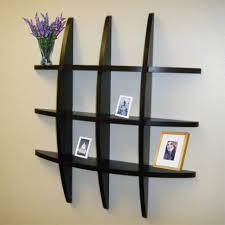 fancy black wooden wall shelving ideas by elegant modern shaped