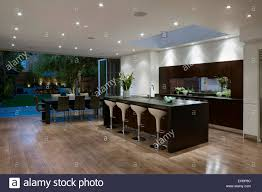 opened planned kitchen and dining room with open wall to garden in